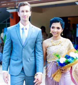 """Honesdale's own Dusty Roberts has quite literally wandered the world in the years since leaving Wayne County. He's pictured here with his beautiful wife """"Gift"""" who he met while backpacking in Thailand."""