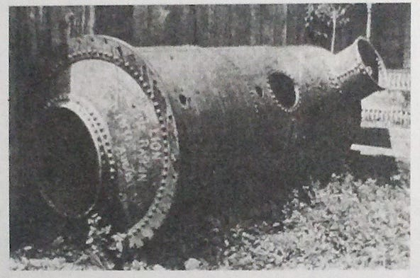 The Stourbridge Lion's boiler, laying forlornly next to the foundry in Carbondale, Pa. where it was put to use for making stoves.