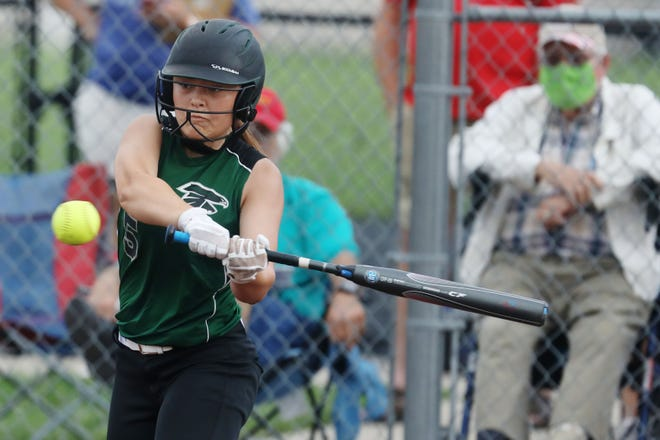West Burlington-Notre Dame's Raven Messamaker (5) at bat during their game against Winfield-Mount Union, Wednesday July 1, 2020 at West Burlington's Barb Carter Field.