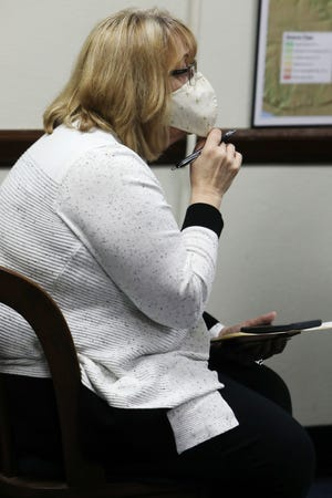 Des Moines County Public Health Administrator Christa Poggemiller gives the newest COVID-19 numbers during the Des Moines County Board of Supervisors regular session Tuesday Dec. 29, 2020 in the public meeting room at the Des Moines County Courthouse.