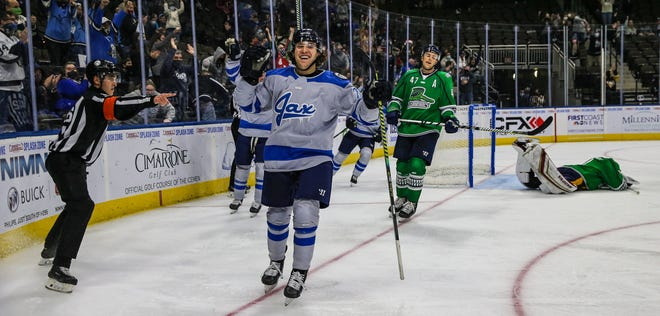 Jacksonville Icemen forward Ara Nazarian (22) celebrates his go-ahead goal during the third period of an ECHL hockey game against the Fort Florida Everblades at Veterans Memorial Arena in Jacksonville, Fla., Monday, Dec. 28, 2020. Icemen won 5-3. [Gary Lloyd McCullough/For the Jacksonville Icemen]