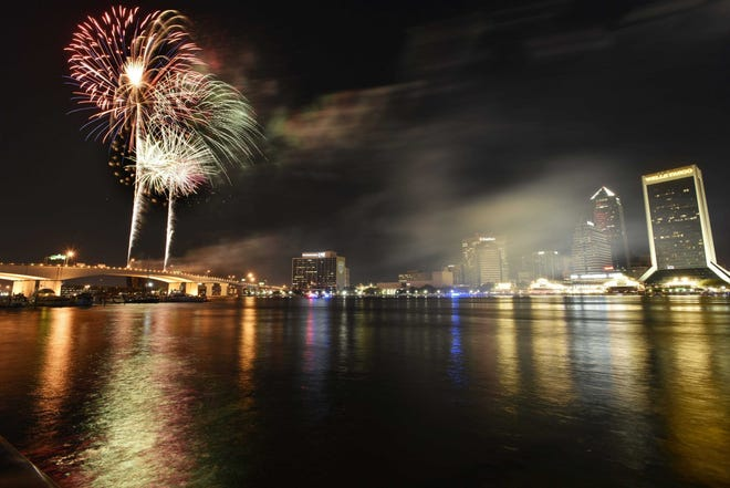 Fireworks are scheduled for midnight on New Year's Eve over the St. Johns River in downtown Jacksonville.