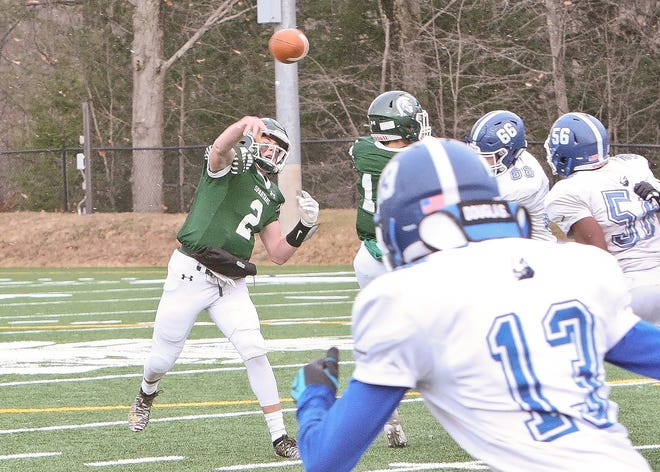 Oakmont  senior Colton Bosselait, shown throwing a pass against Lunenburg on Thanksgiving Day in 2019, recently announced his plans to attend Bates College in the fall of 2021 and play football for the Bobcats.