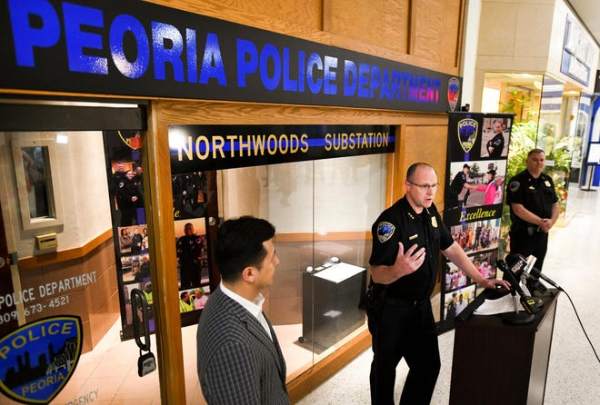 In this 2018 file photo, Peoria Police Chief Loren Marion announces the opening of a substation in the Northwoods Mall.