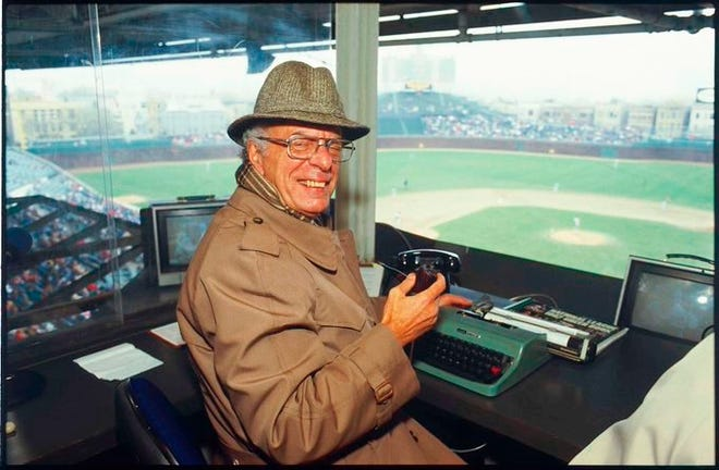 Jack Rosenberg in the Wrigley Field press box, probably sometime in the 1980s. Rosenberg, who was from Pekin, spent 40-plus years as sports editor at WGN radio and television in Chicago and helped revolutionize broadcast coverage of sports. He died last weekend at 94.