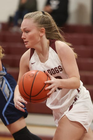 Woodridge senior Layla Foster brings the ball downcourt during the Bulldogs' 34-32 loss to Rootstown Dec. 23