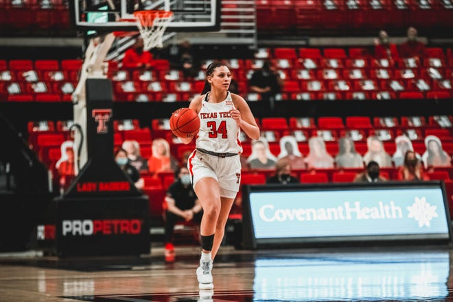Texas Tech's Lexi Gordon brings the ball up the court during a non-conference game against Incarnate Word on Tuesday, December 29, 2020 at the United Supermarkets Arena in Lubbock, Texas