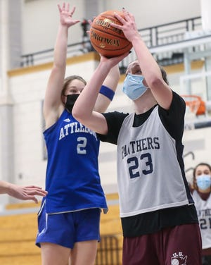 Franklin junior Olivia Quinn shoots for two points during a scrimmage against Attleboro at Franklin High School in Franklin on Dec. 23.