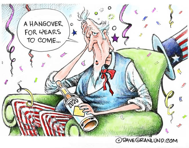 Dave Granlund cartoon on hangover from 2020
