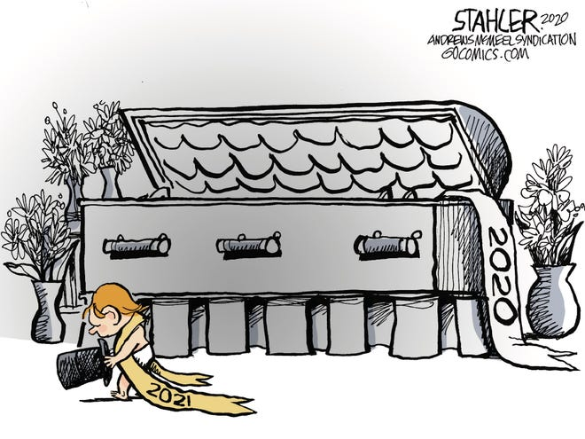 Jeff Stahler cartoon on putting 2020 behind us
