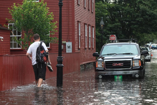 A fast-moving storm in July brought flooding, damage and power outages across parts of Newport County, Rhode Island. It caused severe flooding at a number of businesses, the Newport Public Library and the Newport police station.
