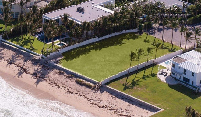 A vacant oceanfront lot of about a half-acre has changed hands for $20.2 million at 7 Ocean Lane on the North End of Palm Beach. It was listed at $21.9 million when it sold.