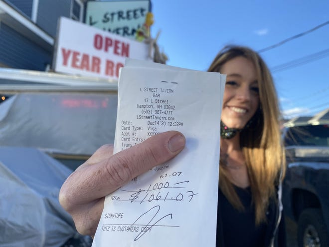 Justine Barnes received a $1,000 tip Dec. 14 while working her shift as a server at L Street Tavern.