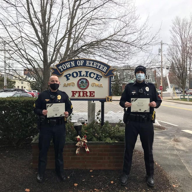 Police Sgt. Devin West and Officer Theodore Sierad were recognized by the Exeter Police Department for their work. Sierad received a Meritorious Service Award for investigating the February murder inside Timberland and West received a Chief's Achievement Award for his work with Seacoast Mental Health.