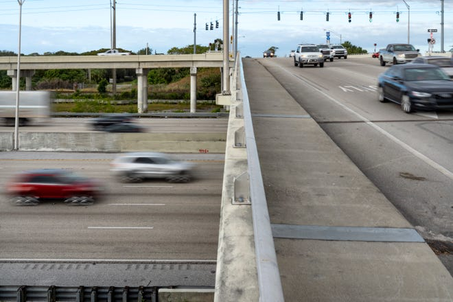 The interchange at I95 and Lantana Road on Thursday in Lantana. The interchange is due for a makeover, and the selected design is a Diverging Diamond Interchange– DDI for short.