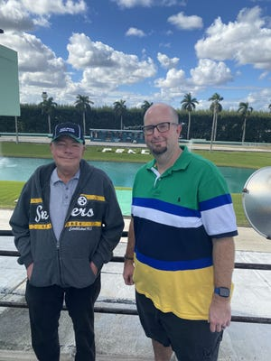 Jeff Prince (left) and Mike Jameson have called greyhound races at Palm Beach Kennel Club for many years, Jameson for the last 20 years after replacing Prince. On January 1, there will be no live races to call.