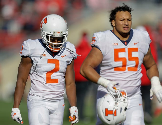 Illinois offensive lineman Kendrick Green (55) declared for the 2021 NFL draft on Tuesday. [Andy Manis/The Associated Press/File]