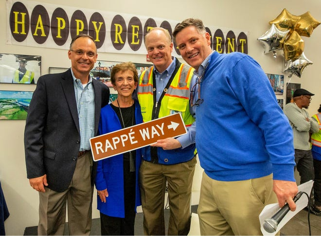 From left, Director of Crane Operations Shannon Schurman, Betty Ann Rappe, Chief Operating Officer Ed McCarthy and Executive Director Griff Lynch celebrate Rappe's 53 years of service in January.