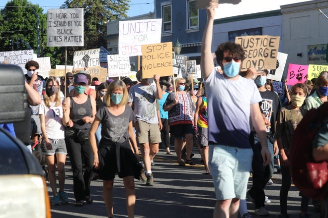 Scenes from a peaceful protest in response to the murder of George Floyd protest in downtown Mount Shasta in June of 2020.