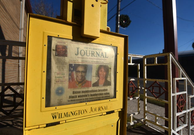 "A newspaper vending machine for the Wilmington Journal in front of the Wilmington Sportsmen's Club in Wilmington, N.C., Tuesday, December 29, 2020. The newspaper began in 1927 and currently has a ""Save the Wilmington Journal"" Go Fund Me campaign.  [MATT BORN/STARNEWS]"