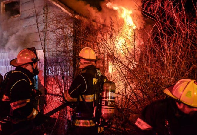 Millbury firefighters encounter flames.