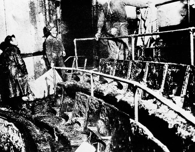 This is the burned interior of the orchestra section of the Iroquois Theater in Chicago, after a fire that claimed more than 600 lives destroyed it, Dec. 30, 1903.