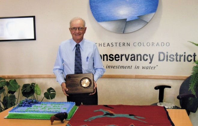 Carl Genova receiving an award for 20 years service on the board for the Southeastern Colorado Water Conservancy District in 2008. Genova, known for his work with agricultural water rights, died at the age of 88 on Dec. 25.