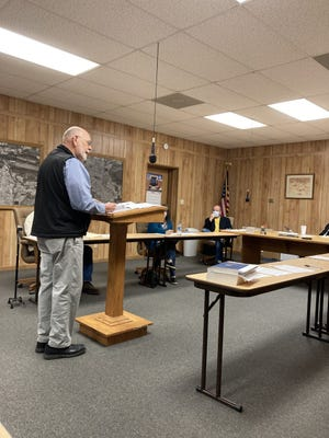 Loy Claunch, an engineer with Crafton Tull, speaks Monday, Dec. 28, 2020, about the damage to the Paris city sewer system.