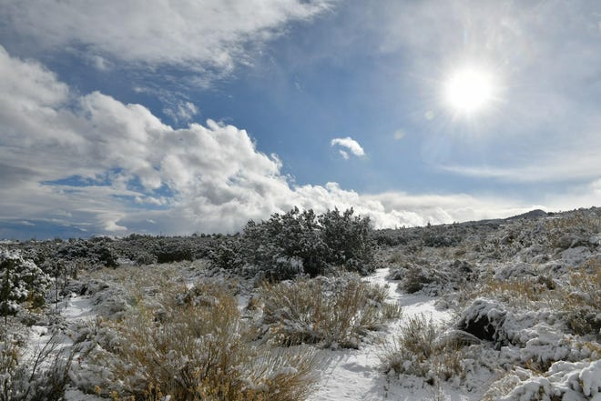 A winter storm brought snow toPiñon Hills and other parts of the High Desert on Monday morning, Dec. 28, 2020.