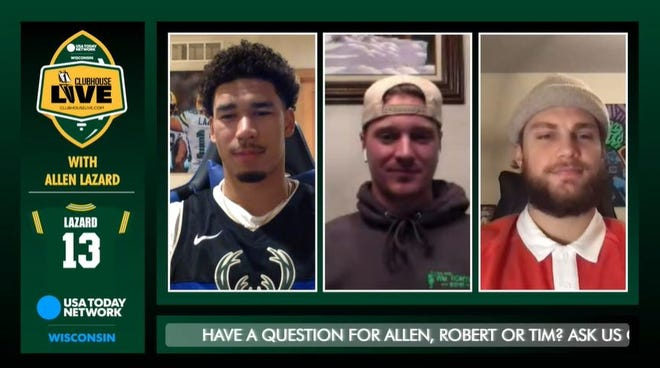 Green Bay Packers wide receiver Allen Lazard (left) co-hosted Monday's Clubhouse Live. Lazard's guests were quarterback Tim Boyle (center) and tight end Robert Tonyan (right).