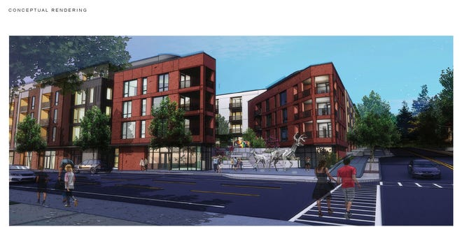 A conceptual rendering of development plans for a historic area on Charlotte Street that includes a mix of residential, commercial and office space on four acres. Designs are still being finalized for the project, which faces criticism from neighbors and the Preservation Society of Asheville and Buncombe County.