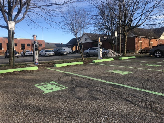 Located in the municipal parking lot on East Water Street, adjacent to Cristy's Pizza, two new electronic vehicle charging stations have been placed.