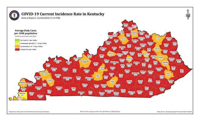 The COVID-19 current incidence rate map for Kentucky as of Monday, Dec. 28.