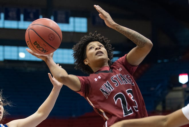 Redshirt senior Aaliyah Prince cuts through the defense during New Mexico State's game against Kansas on Dec. 29, 2020, in Lawrence, Kansas.