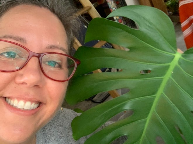 I joked in a March 2020 column about switching to a shot glass-sized watering can so that I wouldn't drown my houseplants with too much love and attention. I'm happy to report that they survived. Here's a selfie with one of my split-leaf philodendrons. We all know who wears the plants in this family.