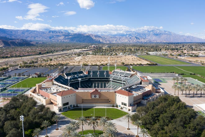The Indian Wells Tennis Garden is photographed on December 29, 2020 using a drone. The annual tournament has been posponed for the 2021 year.