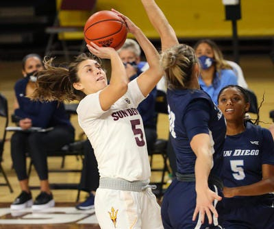Junior guard Jamie Loera (5) is finally healhty and getting a chance to play for Arizona State women's basketball.