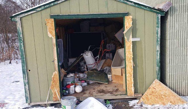 Two storage sheds located on the property of soccer fields in East China Township were broken into and vandalized this weekend.