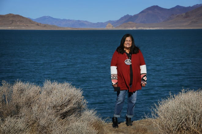 Janet Davis, newly elected Chairwoman of the Pyramid Lake Paiute Tribe, poses for a portrait in in front of Pyramid Lake on Dec. 29, 2020. Davis is only the second woman to ever be elected as leader of the Pyramid Lake Paiute Tribe.