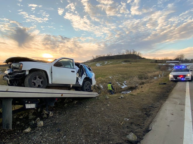 Four people were taken to the hospital after crashing into a ditch on Ohio 146 Tuesday afternoon.