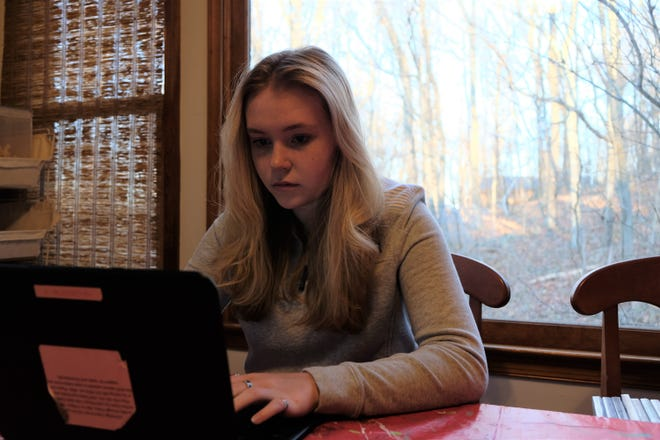 Olivia Scheulen studies remotely three days a week. At the beginning of the school year, Rappahannock County Public Schools provided all students with electronic devices.