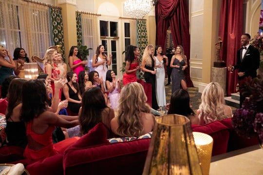 """Bachelor"" star Matt James speaks to contestants on the first night of the season."