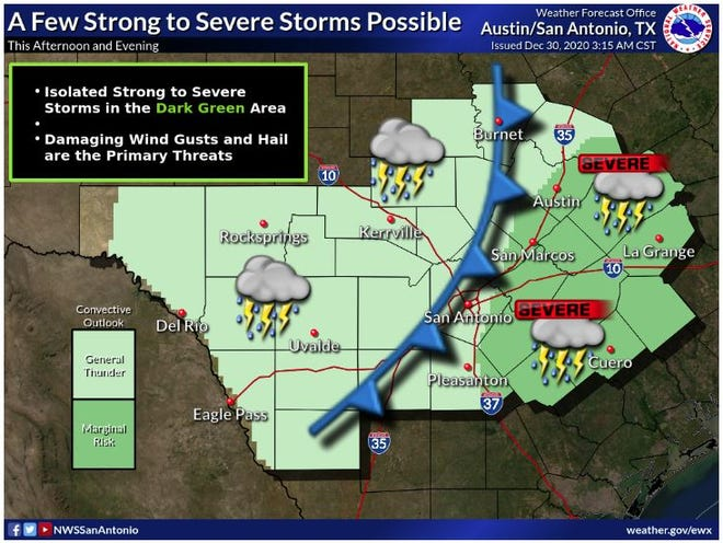 Damaging wind gusts and hail are the main threats as a cold front generates severe storms near and east of the Interstate 35 corridor, forecasters say.