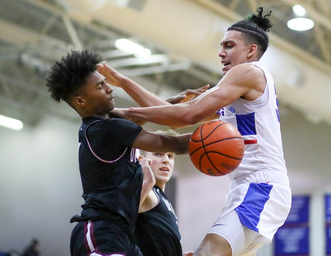 Noah Robledo, right, powered Leander to an impressive win over Hutto this week with 32 points and 10 rebounds.
