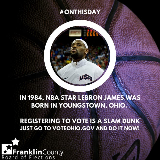 A photo uploaded by the Franklin County Board of Elections, celebrating LeBron James' birthday while incorrectly stating his birthplace.
