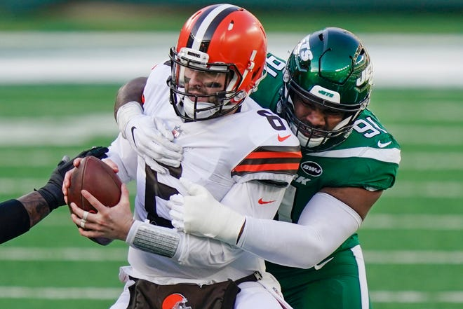 Browns quarterback Baker Mayfield (6) said the playoffs have started for the Browns, who can reach the postseason with a win over the Pittsburgh Steelers on Sunday at FirstEnergy Stadium. [Corey Sipkin/Associated Press]
