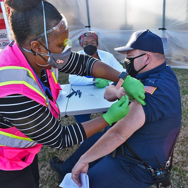 Augusta firefighter/EMT Sgt. Alan Glovgosky was one of the first to receive a COVID-19 vaccine Dec. 21. The department has vaccinated more than 20 firefighters/EMTs so far.