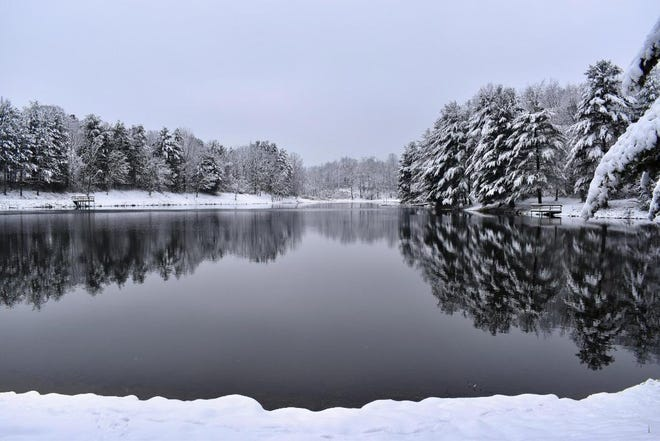 Pictured is the lake at Barnesville Park. On Christmas Day, residents woke to about six inches of newly-fallen snow which provided the area with a White Christmas.