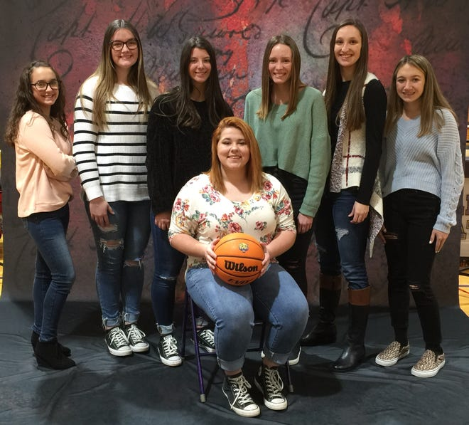 2020-21 Bearcat Basketball Homecoming Royalty are front, Queen Sarah Grissom. Back row: 7th grade maid, Lilli Suttles; freshman maid, Rylie Love; junior maid, Brooke Turner; Senior Maid, Brylee Washburn; sophomore maid, Karmen Kent; and 8th grade maid, Adisyn Hill.