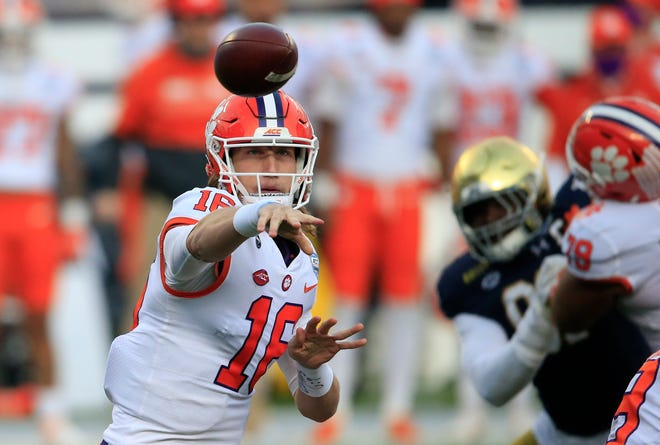 Clemson quarterback Trevor Lawrence (16) promises to test an Ohio State secondary that struggled at times in pass coverage this season.